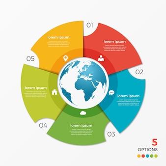 Modèle d'infographie de diagramme circulaire avec des options de globe 5 pour les présentations, la publicité, les mises en page, les rapports annuels, la conception de sites web.