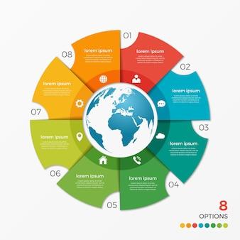 Modèle d'infographie de diagramme circulaire avec des options de globe 8 pour les présentations, la publicité, les mises en page, les rapports annuels, la conception de sites web.