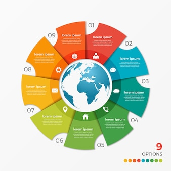 Modèle d'infographie de diagramme circulaire avec des options de globe 9 pour les présentations, la publicité, les mises en page, les rapports annuels, la conception web.