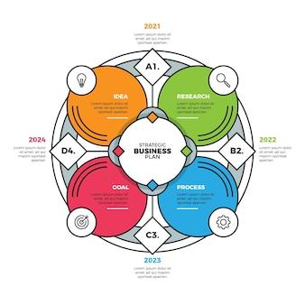 Modèle d'infographie de diagramme circulaire plat linéaire