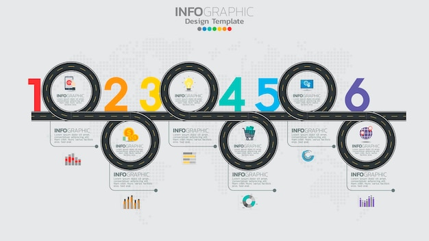 Modèle d'infographie avec diagramme de processus de workflow à 6 éléments.