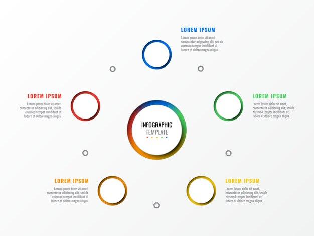 Modèle infographie disposition cinq étapes conception avec rond 3d éléments réalistes. diagramme de processus