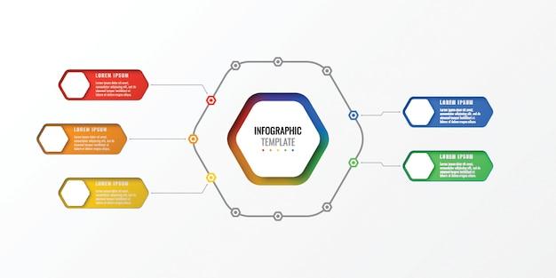 Modèle d'infographie de disposition cinq options de conception avec éléments hexagonaux