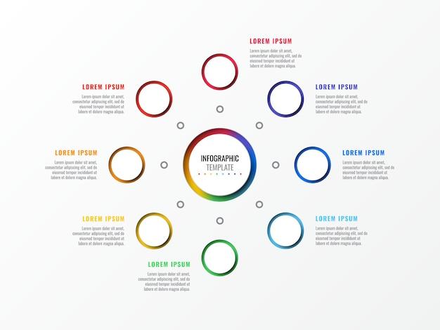 Modèle infographie disposition huit étapes avec éléments 3d réalistes rondes