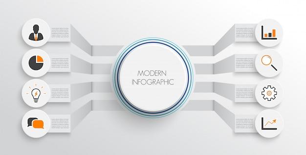 Modèle d'infographie avec du papier 3d