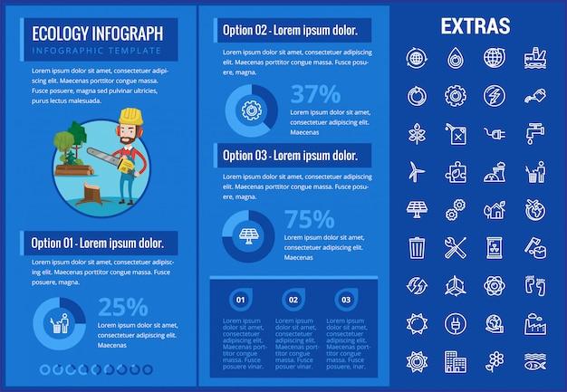 Modèle d'infographie écologie, des éléments et des icônes