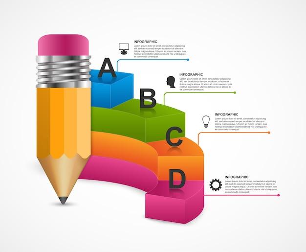 Modèle d'infographie d'éducation abstraite