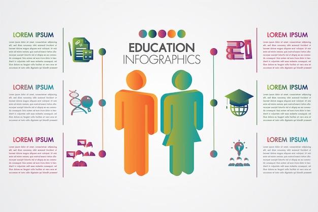 Modèle d'infographie de l'éducation avec la conception d'éléments et concept d'apprentissage 3d coloré