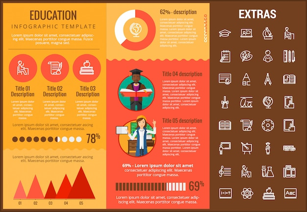 Modèle d'infographie de l'éducation, des éléments et des icônes