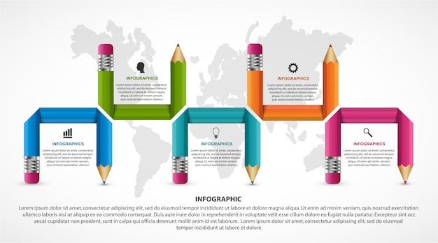 Modèle d'infographie de l'éducation.