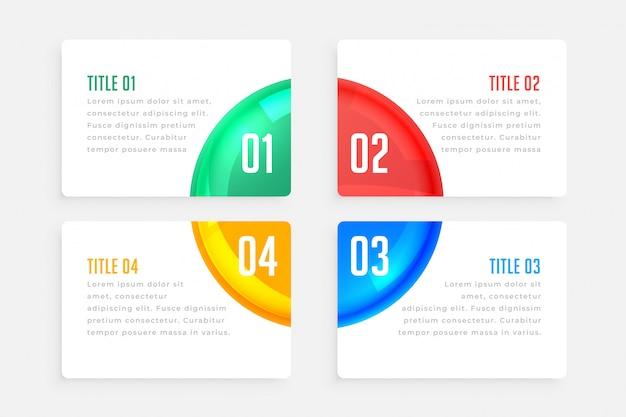 Modèle d'infographie élégant quatre étapes