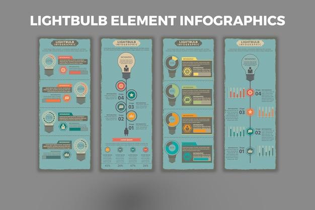 Modèle d'infographie d'élément d'ampoule