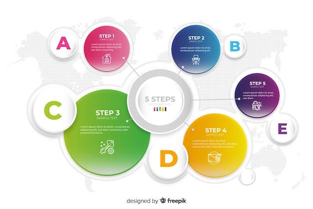 Modèle d'infographie avec des éléments colorés