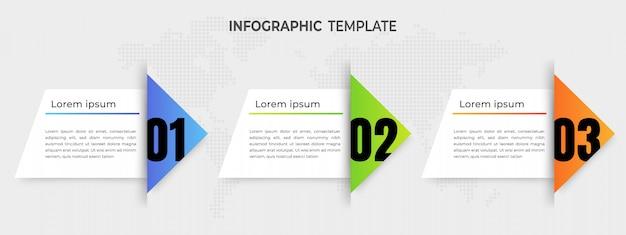 Modèle d'infographie d'éléments flèches avec options.