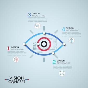 Modèle d'infographie avec des éléments reliés par des lignes en forme d'oeil