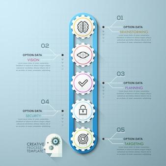 Modèle d'infographie engrenage timeline business