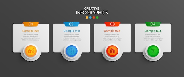 Modèle d'infographie d'entreprise avec 4 options ou étapes