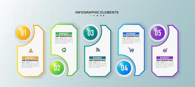 Modèle d'infographie d'entreprise 5 étapes