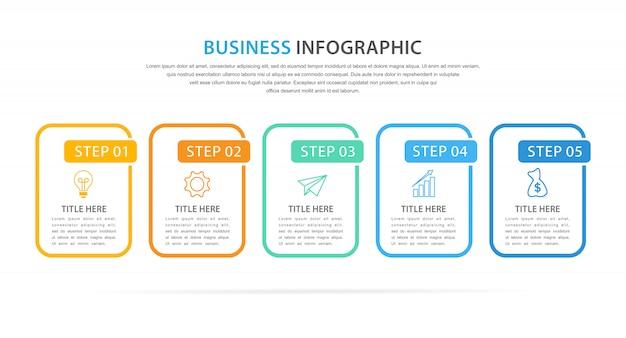 Modèle d'infographie d'entreprise avec 5 option ou étape