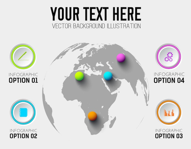 Modèle d'infographie entreprise abstraite avec des icônes de cercles et des boules colorées sur la carte du monde
