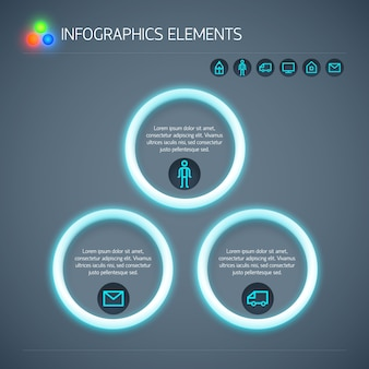 Modèle d'infographie entreprise abstraite avec texte de cercles de néon et icônes isolés