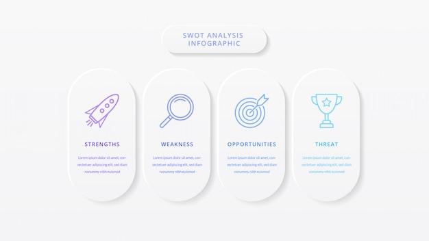 Modèle d'infographie d'entreprise d'analyse swot