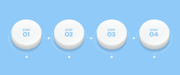 Modèle d'infographie d'entreprise. chronologie avec 4 étapes de flèche de cercle 3d, quatre options de nombre. élément de vecteur.