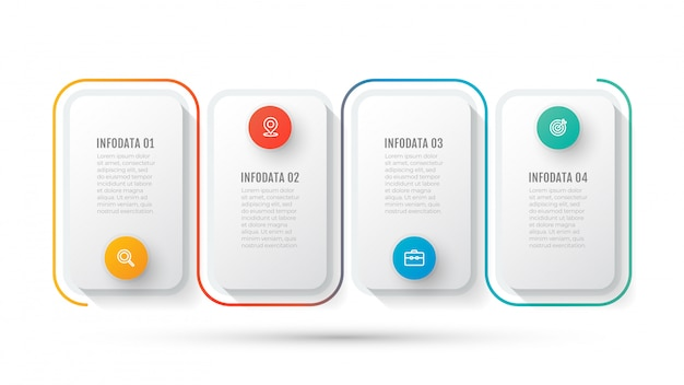 Modèle d'infographie d'entreprise. chronologie avec icône marketing et 4 options ou étapes.