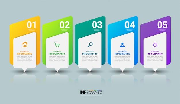 Modèle d'infographie d'entreprise avec cinq étapes