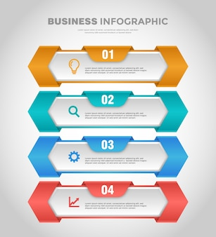 Modèle d'infographie d'entreprise de couleur dégradé doux en 4 étapes