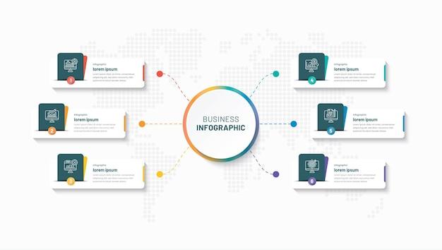 Modèle d'infographie d'entreprise créative en 6 étapes