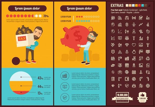 Modèle d'infographie entreprise design plat et ensemble d'icônes