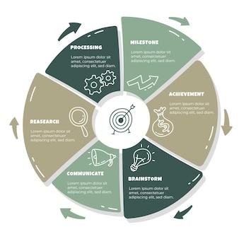 Modèle d'infographie d'entreprise dessiné à la main