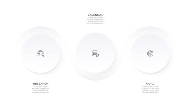 Modèle d'infographie d'entreprise élément de cercle de chronologie avec 3 options ou étapes