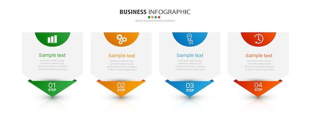 Modèle d'infographie d'entreprise avec des icônes et 4 options ou étapes