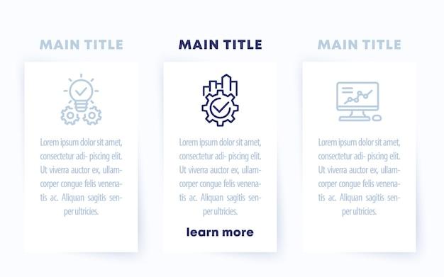 Modèle d & # 39; infographie d & # 39; entreprise avec des icônes de ligne