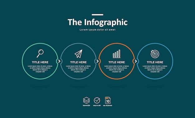 Modèle d'infographie d'entreprise, ligne mince et design plat avec 4 option ou étape