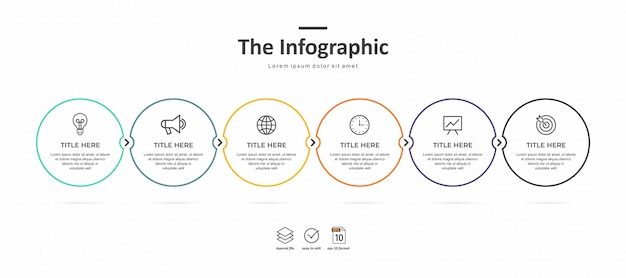 Modèle d'infographie d'entreprise, ligne mince et design plat avec 6 options ou étapes