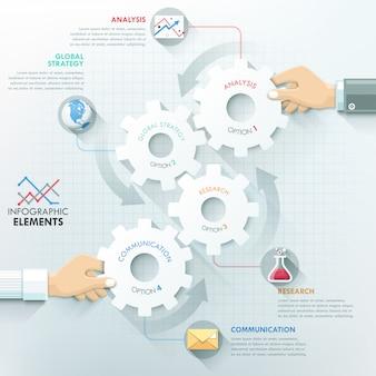 Modèle d'infographie entreprise mains travail d'équipe