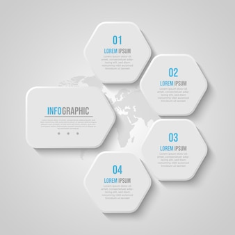 Modèle D & # 39; Infographie Entreprise Polygone Bleu Doux Vecteur Premium