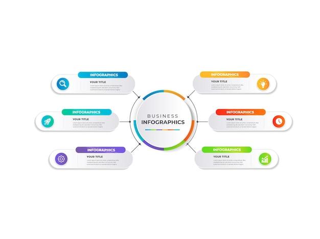 Modèle d'infographie d'entreprise de présentation avec 6 étapes