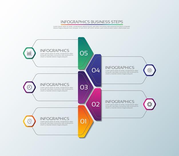Modèle d'infographie d'entreprise de présentation coloré avec cinq étapes