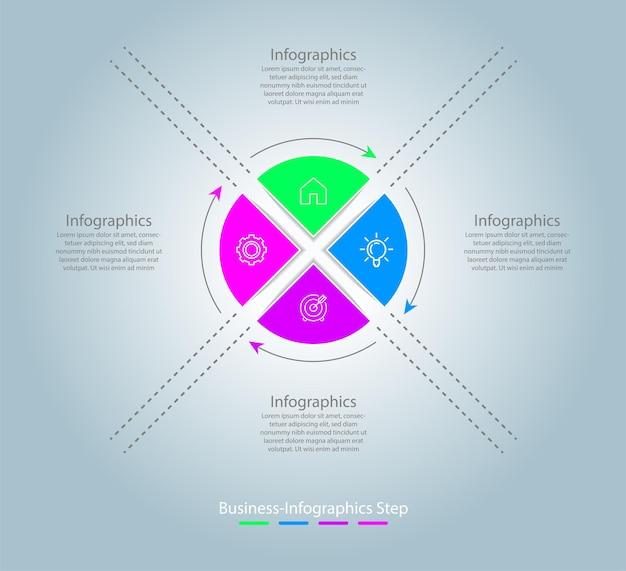 Modèle d'infographie d'entreprise de présentation coloré avec quatre étapes