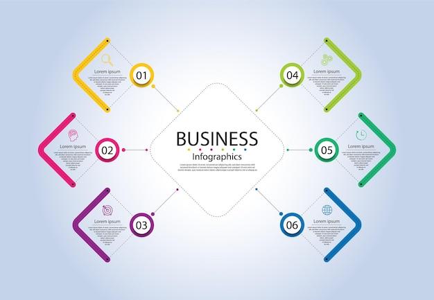 Modèle d'infographie d'entreprise de présentation coloré avec six étapes