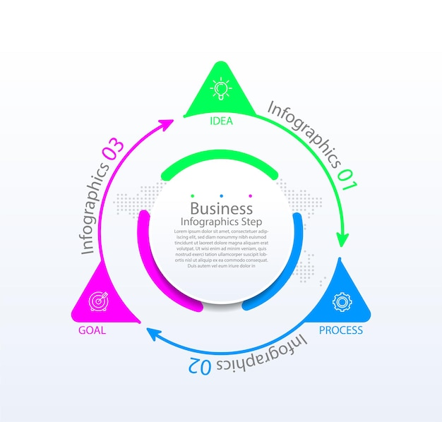 Modèle d'infographie d'entreprise de présentation coloré avec trois étapes