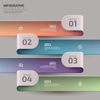 Modèle d'infographie d'entreprise de présentation avec flux de travail coloré en 4 étapes ou diagramme de processus
