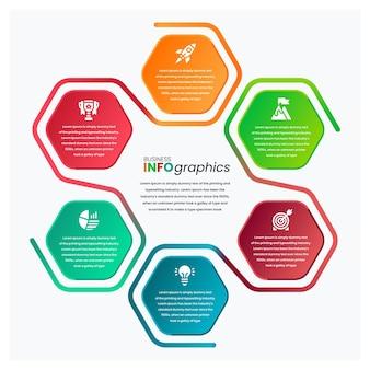 Modèle d'infographie d'entreprise professionnelle colorée hexagonale sinueuse en relief