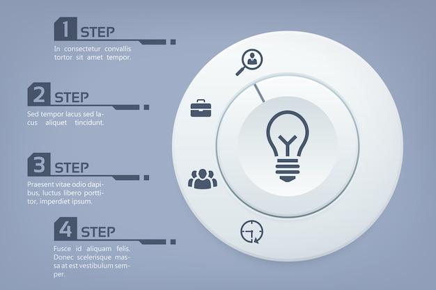 Modèle d'infographie d'entreprise en quatre étapes