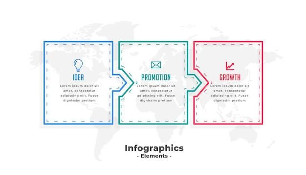 Modèle d'infographie d'entreprise avec trois étapes