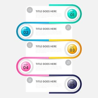 Modèle d'infographie à étape brillante réaliste
